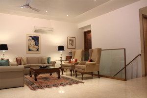 Contemporary interiors in the living room of a modern indian house in New delhi © AKDA