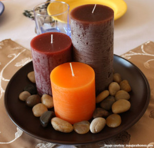 Candles as dining centre-piece