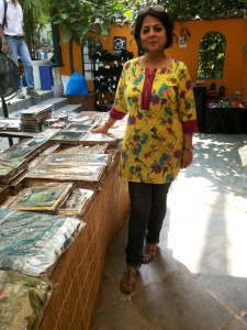Sapna with her creations at an exhibition